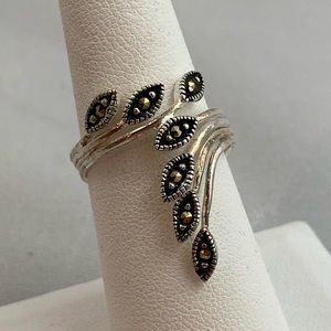 Jewelry - Marcasite & Sterling Bypass Ring